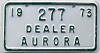 1973 Aurora Illinois Motorcycle Dealer # 277