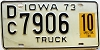 1973 IOWA 10 Ton Special Truck license plate # 7906