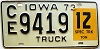1973 IOWA 12 Ton Special Truck license plate # 9419
