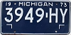 1973 MICHIGAN Truck license plate # 3949-HY