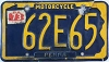 1973 PENNSYLVANIA Motorcycle license plate # 62E65