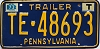 1973 PENNSYLVANIA TRAILER license plate # TE-48693