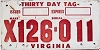 1973 VIRGINIA Thirty Day temp tag # X126-011