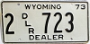 1973 Wyoming Dealer # 723, Laramie County