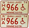 1974 Minnesota Disabled pair # HA966