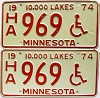 1974 Minnesota Disabled pair # HA969
