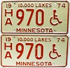 1974 Minnesota Disabled pair # HA970