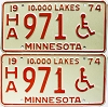 1974 Minnesota Disabled pair # HA971