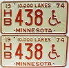 1974 Minnesota Disabled pair # HB438