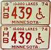 1974 Minnesota Disabled pair # HB439