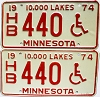 1974 Minnesota Disabled pair # HB440