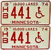 1974 Minnesota Disabled pair # HB441