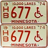 1974 Minnesota Disabled pair # HB677