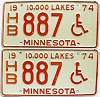 1974 Minnesota Disabled pair # HB887
