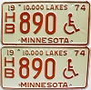 1974 Minnesota Disabled pair # HB890