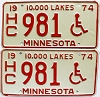 1974 Minnesota Disabled pair # HC981