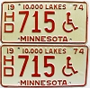 1974 Minnesota Disabled pair # HD715