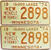 1974 Minnesota New Vehicle In Transit pair # 2898