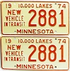 1974 Minnesota New Vehicle In Transit pair # 2881