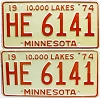 1974 Minnesota pair # HE-6141