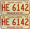 1974 Minnesota pair # HE-6142