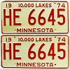 1974 Minnesota pair # HE-6645