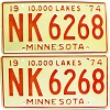 1974 Minnesota pair # NK-6268