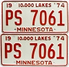 1974 Minnesota pair # PS-7061