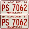 1974 Minnesota pair # PS-7062