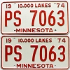 1974 Minnesota pair # PS-7063