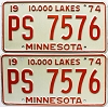 1974 Minnesota pair # PS-7576
