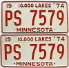 1974 Minnesota pair # PS-7579
