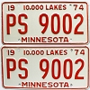 1974 Minnesota pair # PS-9002