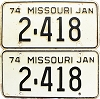 1974 Missouri vanity pair # 2418