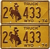1974 Wyoming Truck pair # 433, Laramie County