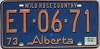 1974 Alberta Wild Rose Country # ET-06-71