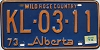 1974 Alberta Wild Rose Country # KL-03-11