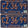 1974 Alberta Wild Rose Country pair # CZ-36-99