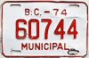 1974 British Columbia Municipal # 60744
