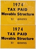 1974 Colorado Movable Structure - Tax Paid stickers pair # 60098