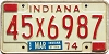1974 INDIANA license plate # 45X6987