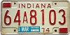 1974 INDIANA license plate # 64A8103