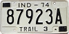 1974 INDIANA Trailer license plate # 87923A
