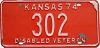 1974 Kansas Disabled Veteran # 302