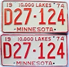 1974 Minnesota Dealer pair # D27-124