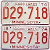 1974 Minnesota Dealer pair # D29-718