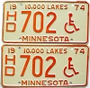 1974 Minnesota Disabled pair # 702