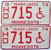 1974 Minnesota Disabled pair # 715