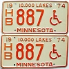 1974 Minnesota Disabled pair # 887