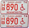 1974 Minnesota Disabled pair # 890